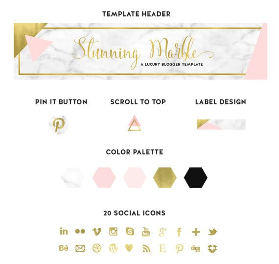 Beautiful Blogger template, with marble and gold textures. Premium ...