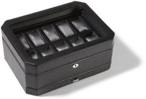 Wolf Designs 4586029 10 Piece Watch Storage Box With Drawer Wolf Designs 165 00 Sturdy Wood Construction Covered In Supple Black Pebble Ma Tailandes