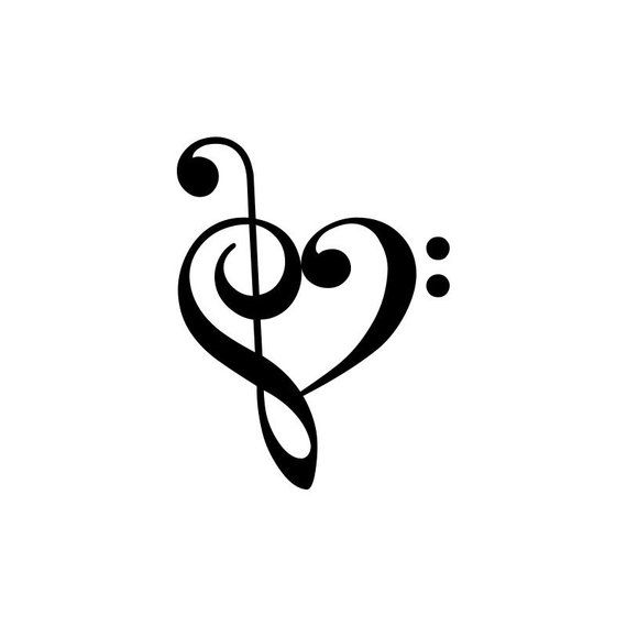 664786ea8 Treble Bass Clef Heart Yin Yang Tattoos, Pisces Tattoos, Infinity Drawings,  Treble Clef