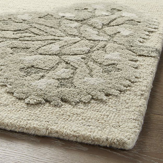 Fiore 9 X12 Wool Blend Rug Crate And Barrel Rugs Botanical Rug Rugs On Carpet