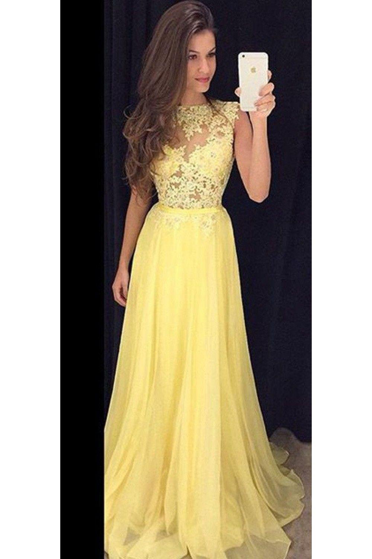 Chiffon Long Prom Dress with Illusion-Lace Bodice