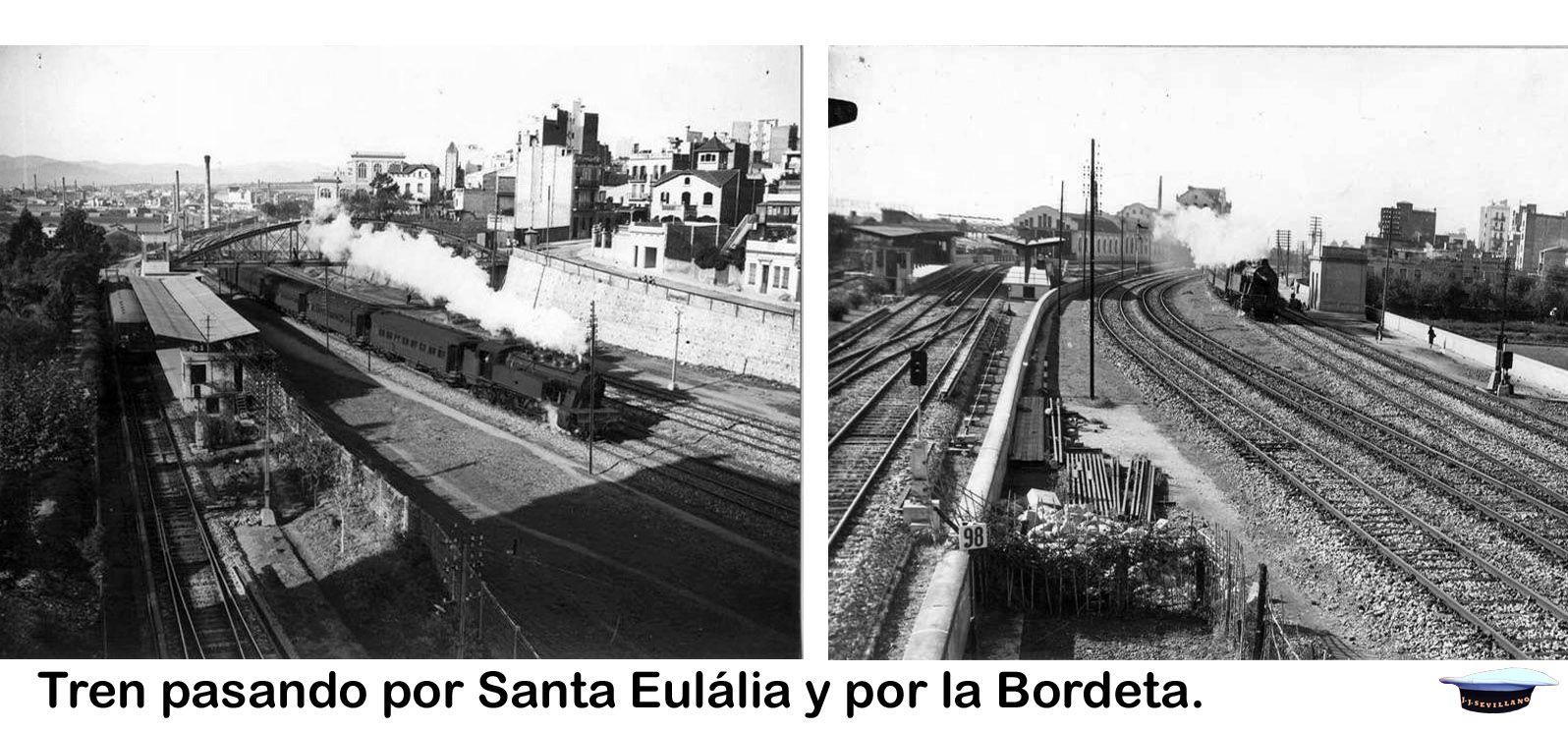 Tren Pasando Por Santa Eulália Y Por La Bordeta Estación De Metro Fuera De Servicio Desde 1983 Locomotora De R Estación De Metro Estacionamiento Locomotora