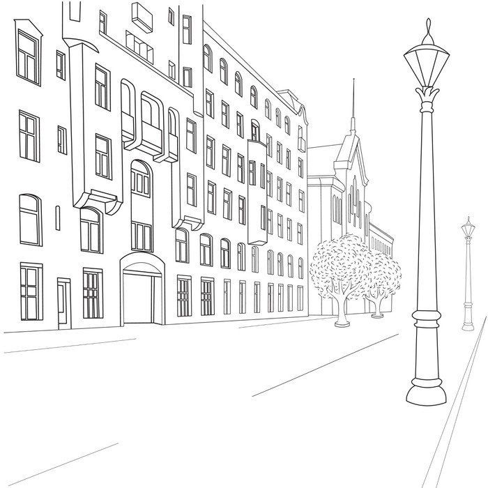 City Street Self Adhesive Wall Mural Pixers We Live To Change Cityscape Drawing City Streets Architecture Drawing