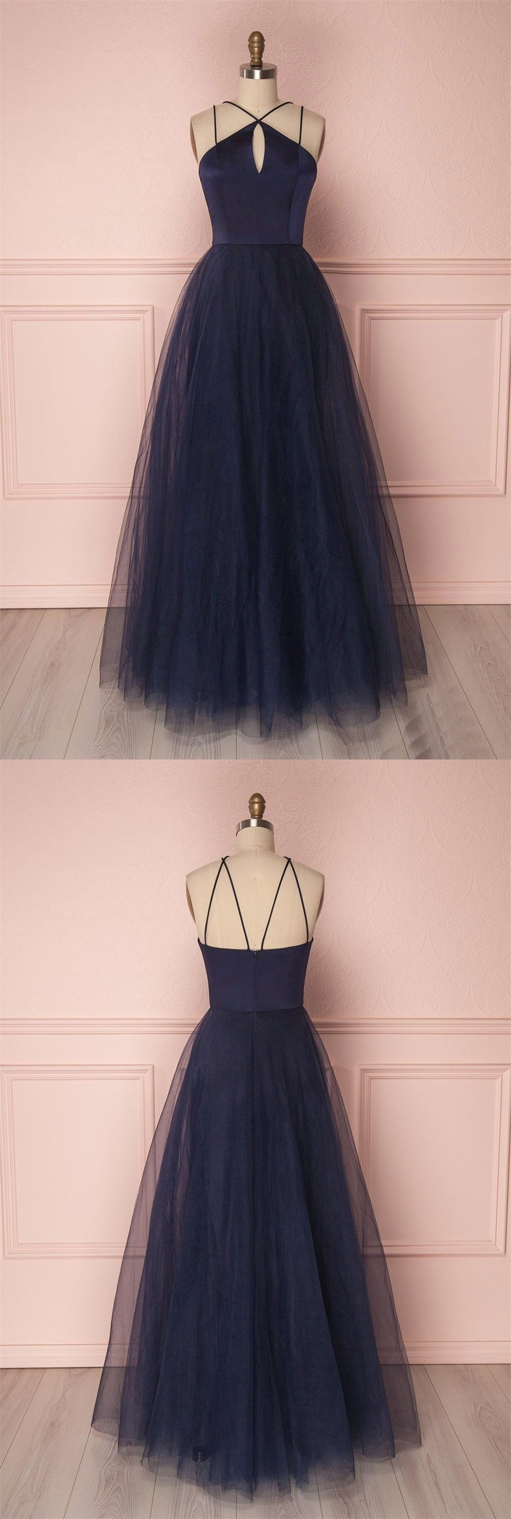 Simple dark blue long prom dress tulle evening gowns in nice