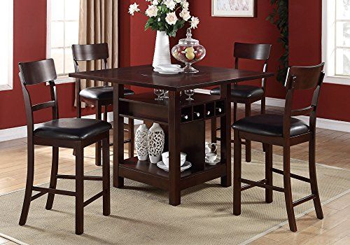1perfectchoice 5 Pcs Counter Height Dining Set Builtin Lazy Susan