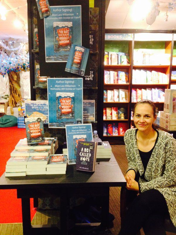 The Waterstones Children's Book of the Month journey came to a lovely end last weekend. Here's Lara signing at Waterstones Truro. #SailtheOcean