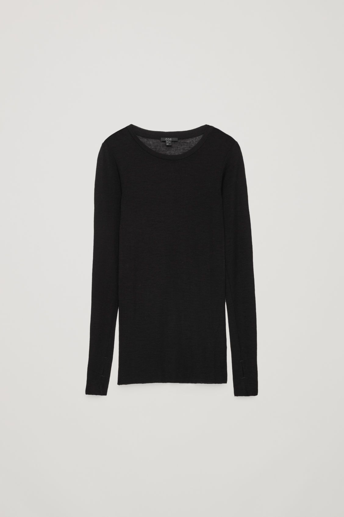 3d1df1fa Front image of Cos wide-neck wool top in black   pdr in 2019   Long ...