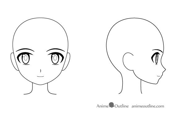 Anime girl side outline sketch google search