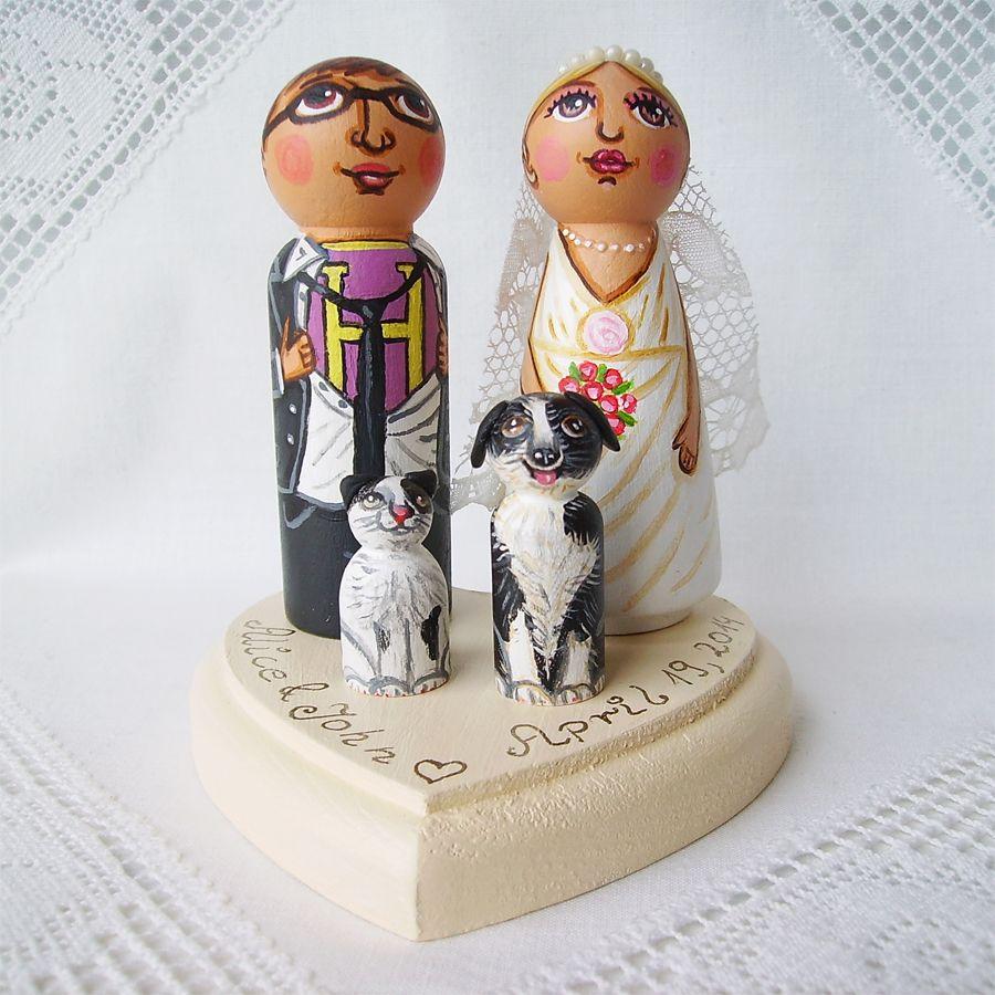 Personalized Wedding Cake Topper Decoration Bride Groom Peg Dolls Dress Suit Train Flower Bouquet Hero Superhero Logo Sport Fan Pets Dog Cat