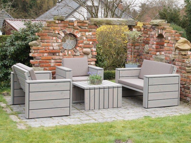Loungemöbel Set 5 Holz Grau Geölt mit Polstern Loungemöbel - loungemobel garten grau
