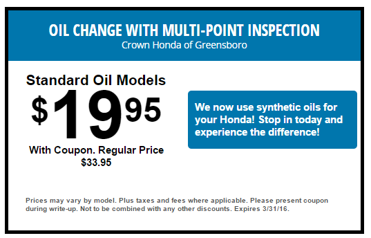 Delightful Oil Change W/ Multi Point Inspection At Crown Honda Of Greensboro. Http:
