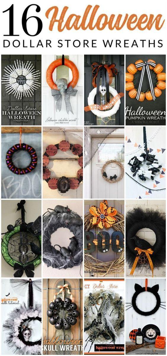 16 DIY Dollar Store Halloween Wreaths HALLOWEEN MISCHIEF