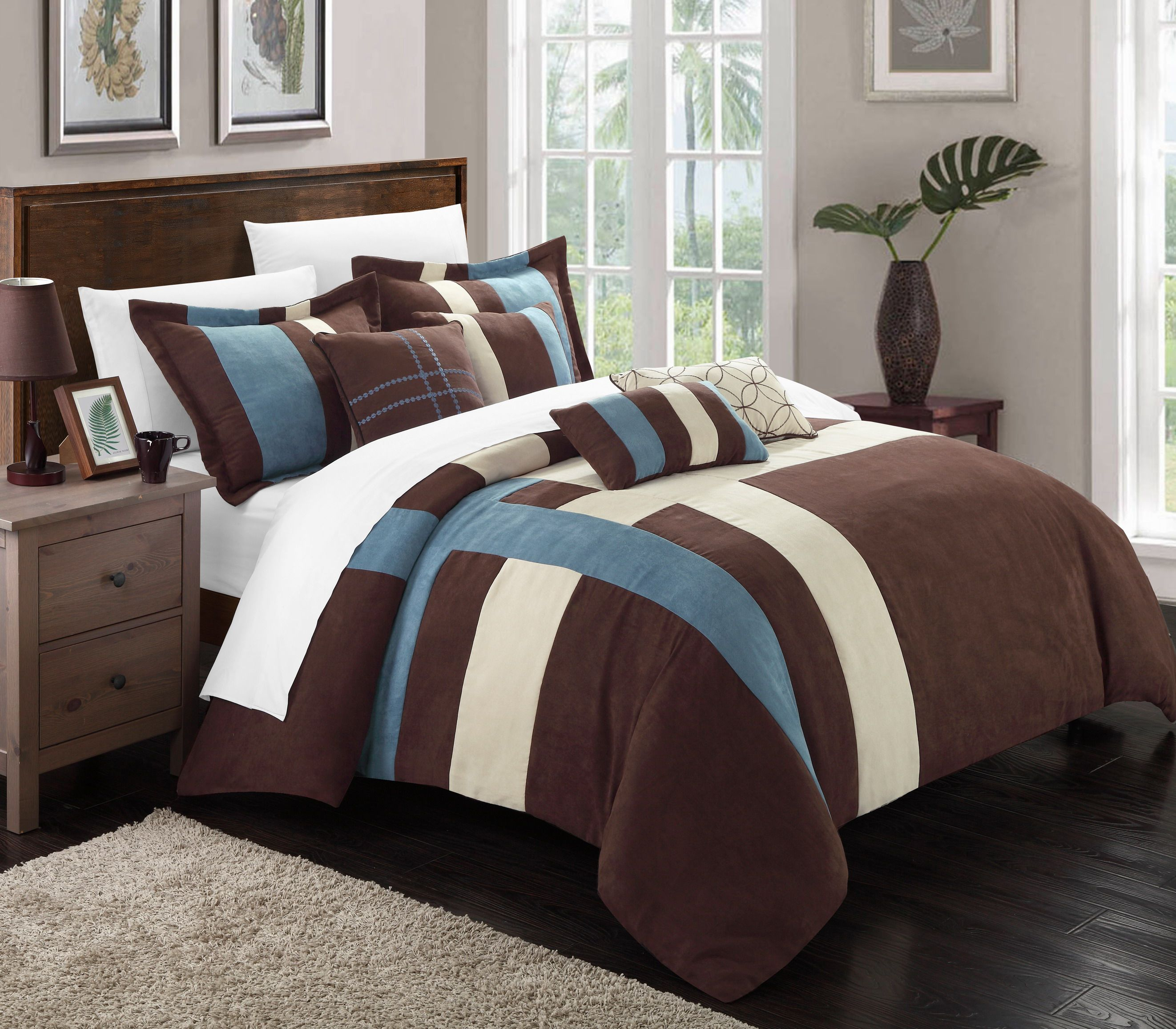 Chic Home Regina 7 Piece Plush Microsuede Comforter Set Includes Bed In A Bag 2 Sham And Master Bedroom Comforter Sets Comforter Sets Bedroom Comforter Sets Blue and brown queen comforter sets