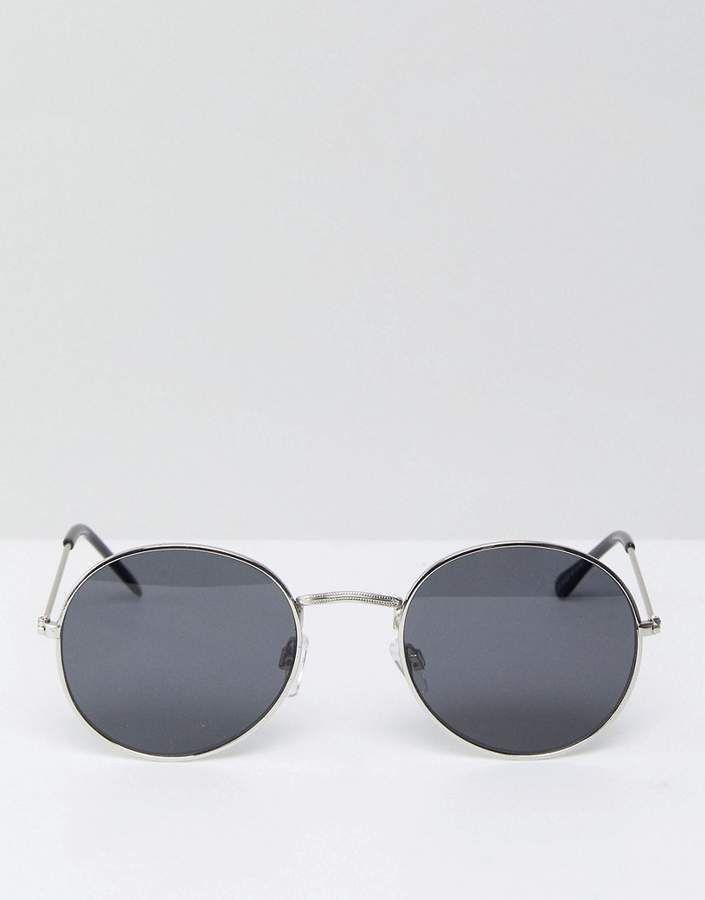 4a0f27f38f Bershka Round Sunglasses In Silver Frames With Black Lenses  Sunglasses by  Bershka