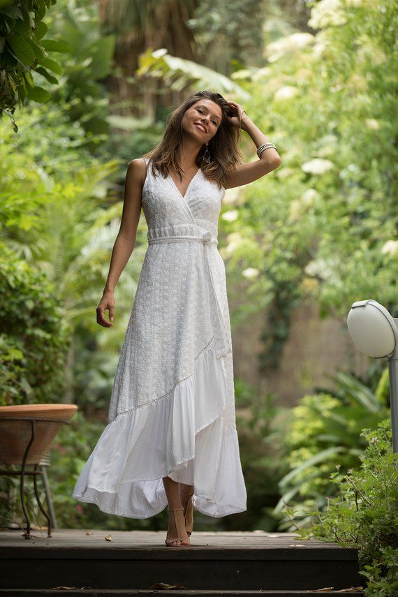 2f756fe0a165 Bohemian Bride White Eyelet Dress, Wrap Maxi Wedding Dress, Urban Bride  Summer Dress, Trendy Cool We