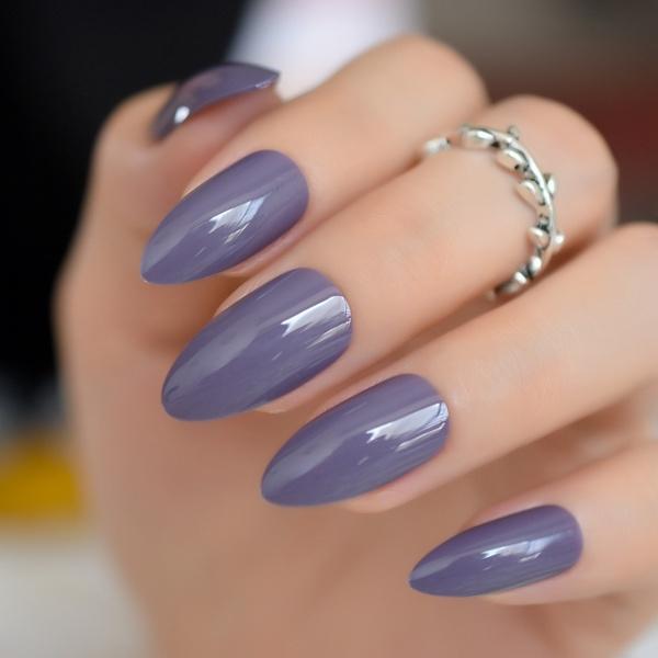 Wish 24pcs Shinning Uv Gel Stiletto Nails Almond Design Dark