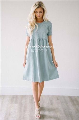 133c4af668 Dusty Mint Eyelet Lace Cotton Modest Church Dress | Best and Affordable  Modest Boutique | Cute Modest Dresses and Skirts for Church