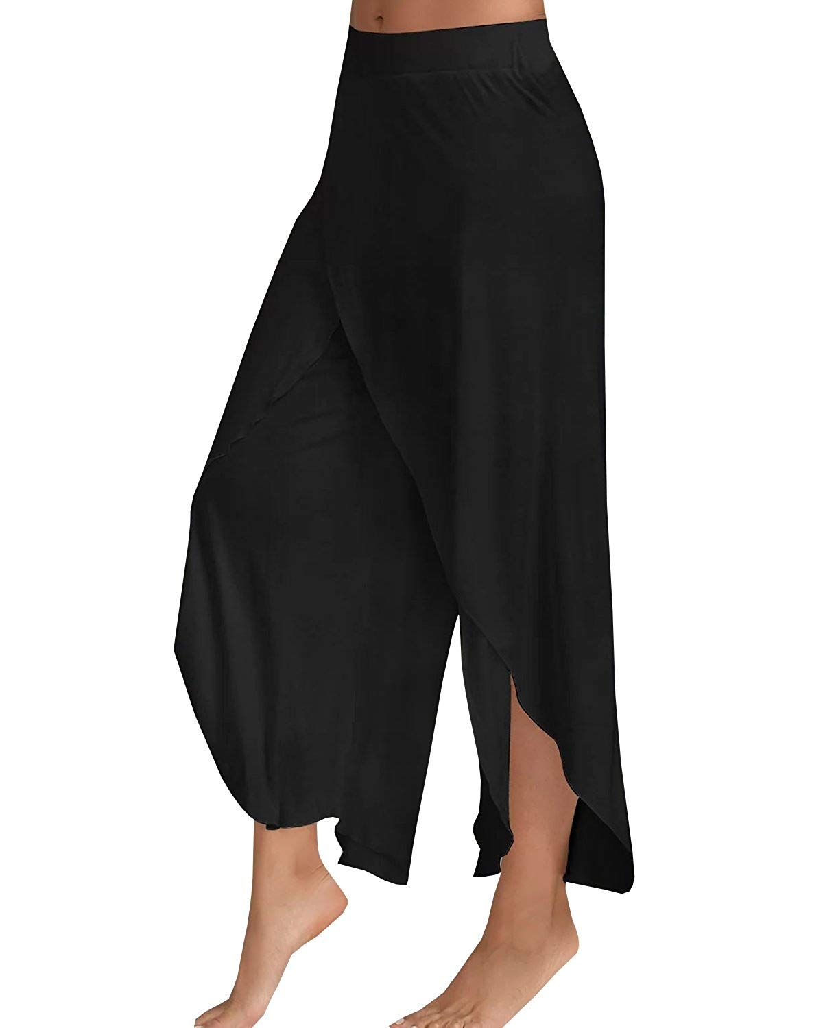cbdc86645b3 Chuanqi Women s Palazzo Pants High Slit Flowy Layered Wide Leg Cropped Pants     You can find out more details at the link of the image.