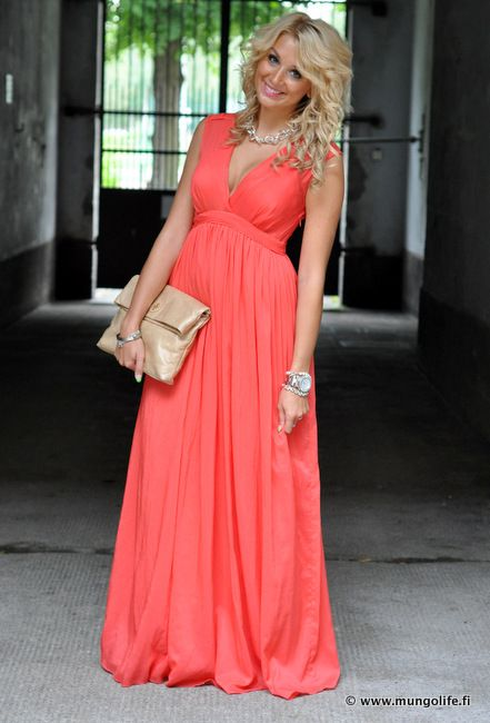 f7cf726c0b Mungolife coral maxi dress (I would definitely want a to wear a camisole  with this one)