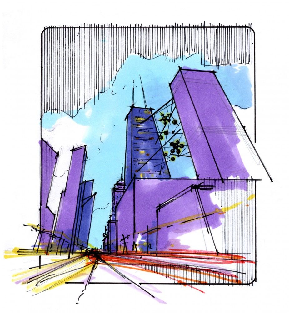 Gallery Of Live Between Hks Architects 4 Architecture Illustration Architecture Sketch Design Sketch