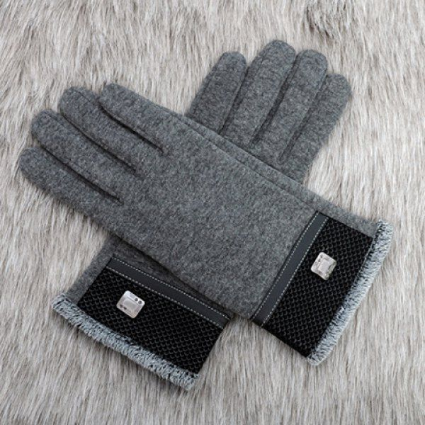 Pair of Stylish Alloy Embellished Fish Scale Pattern Brim Thicken Gloves For Men #jewelry, #women, #men, #hats, #watches, #belts