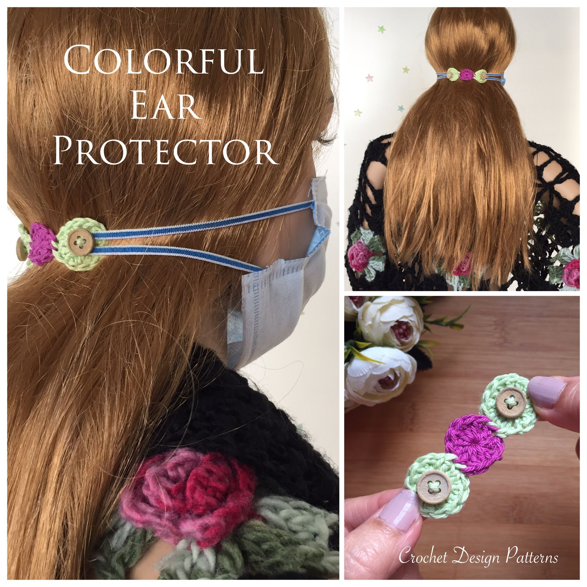 Photo of Colorful Ear Protector straps for face mask crochet pattern