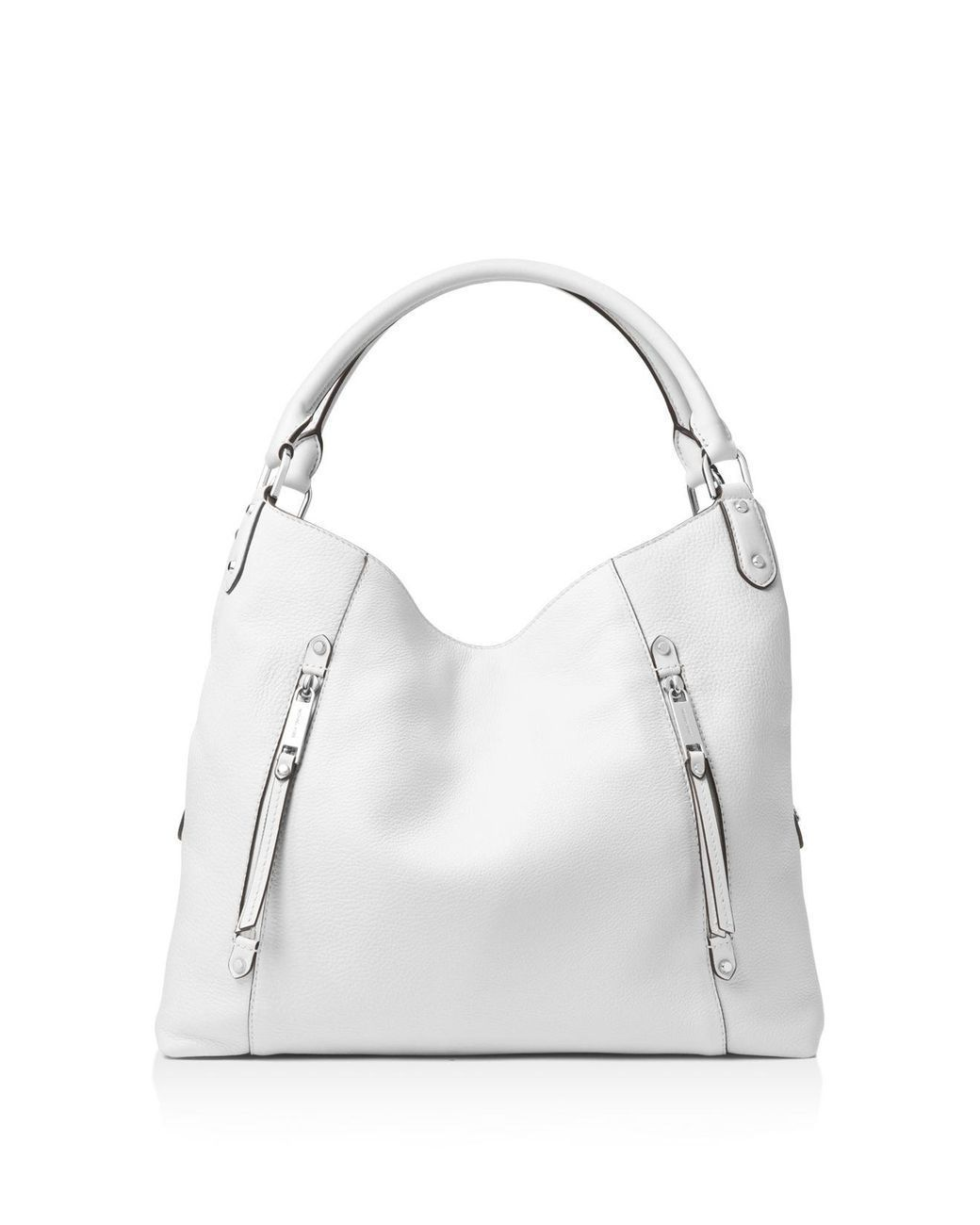 90cb1591b120 MICHAEL Michael Kors - White Evie Large Leather Shoulder Tote - Lyst ...