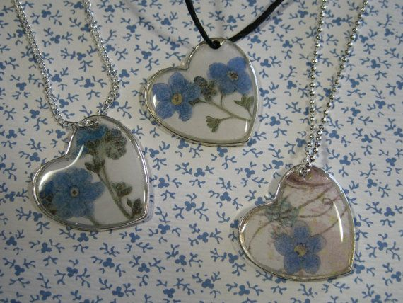 Off Centered Forget Me Not Resin Heart by Forgetmenotkeepsake, $24.95