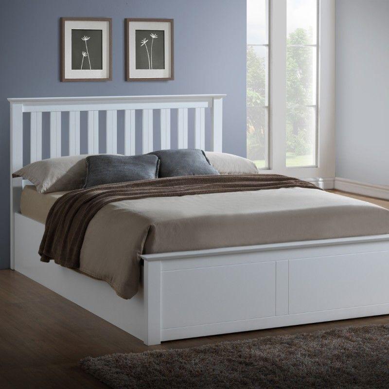 Phoenix White Wooden Ottoman Storage Bed Ottoman storage bed