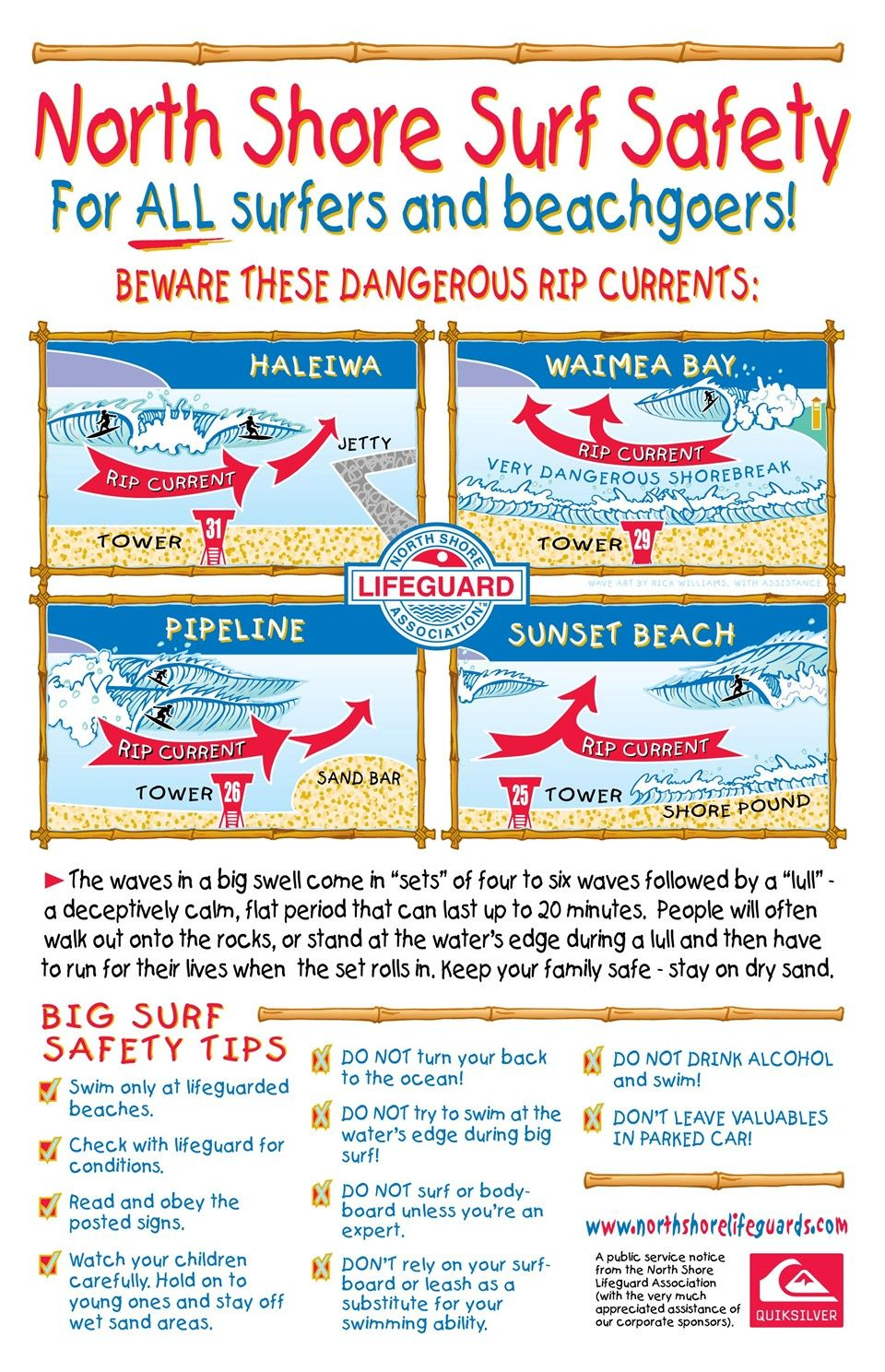 North Shore Ocean Safety Surfing Infographic Poster by
