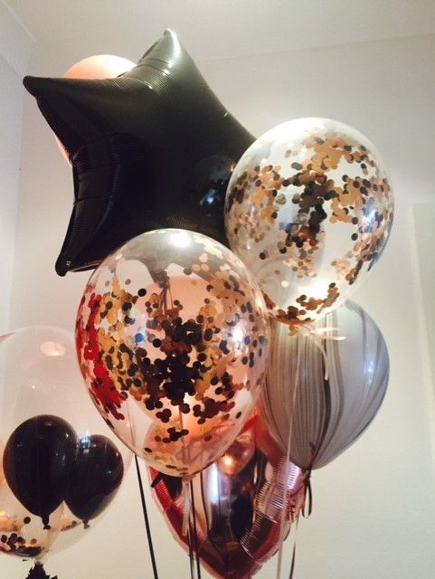 Rose Gold Black Confetti And Marble Balloon Bouquet Gold