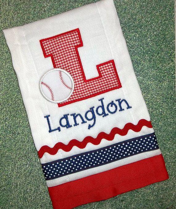 7ff89e3074238 Sports Baseball Monogram Initial Applique Burp Cloth, Embroidered ...