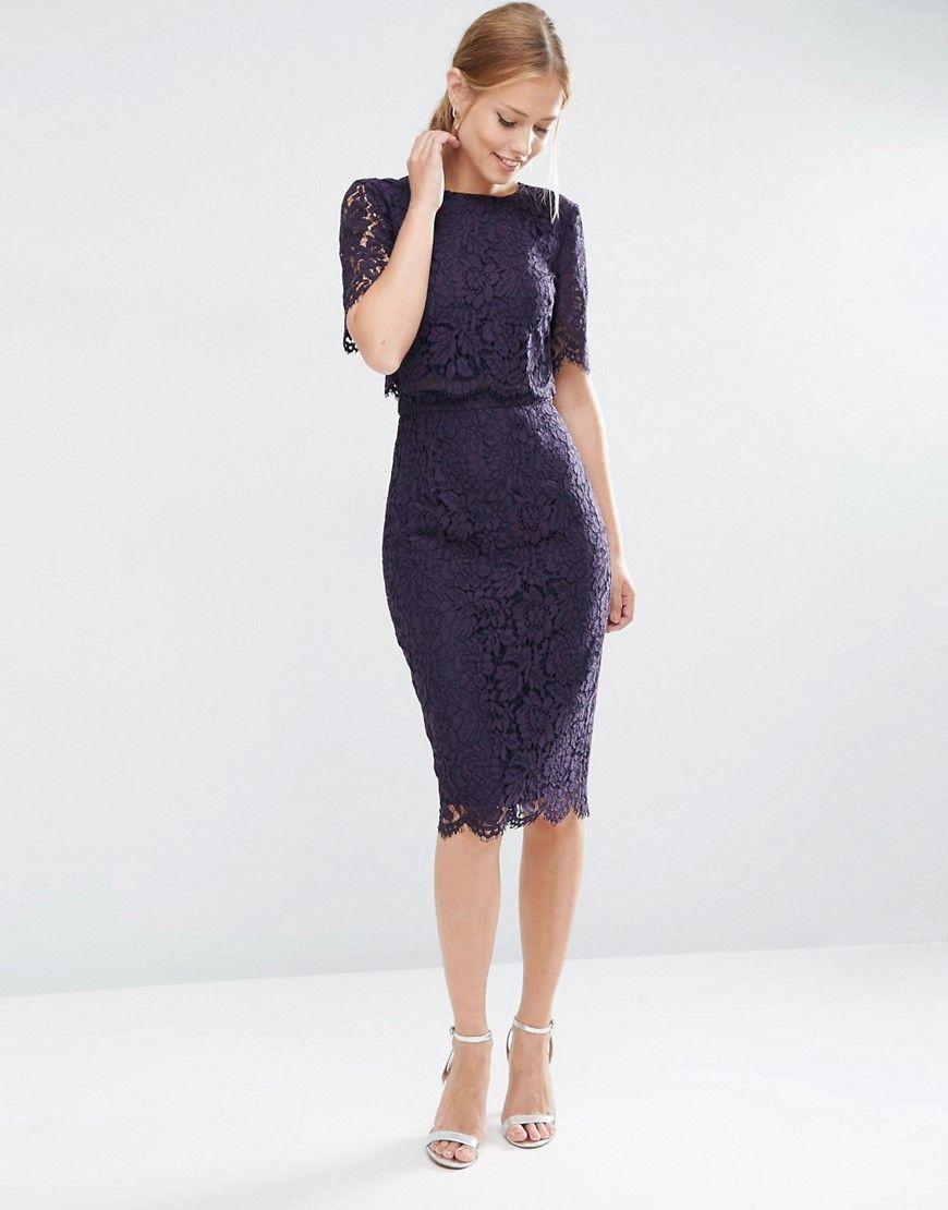 Кружевное платье-футляр миди с укороченным топом