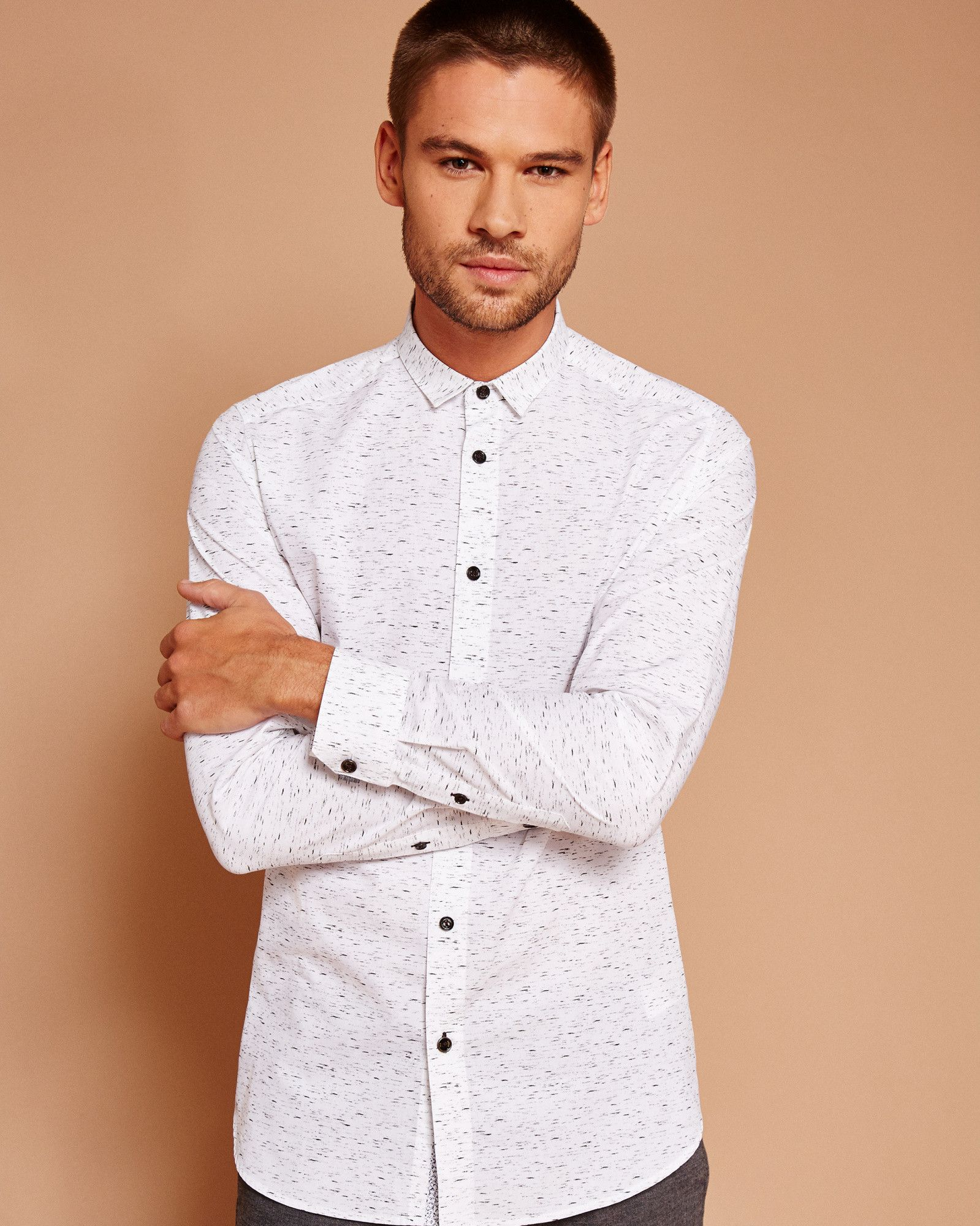 bf67d14d8547 Nepped print cotton shirt - White | Shirts | Ted Baker | SUMMER18 ...