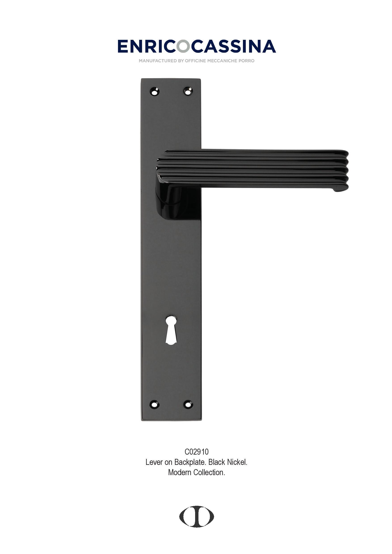Superbe Door Handle, Black Nickel, Design, Style, Lever On Back Plate, Thirties