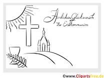 Erstkommunion Malvorlage Sonne Kirche Kreuz