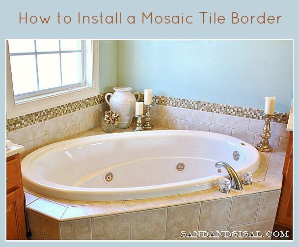 Add A Glass Stone Tile Border Bathroom Tile Diy Tile Around