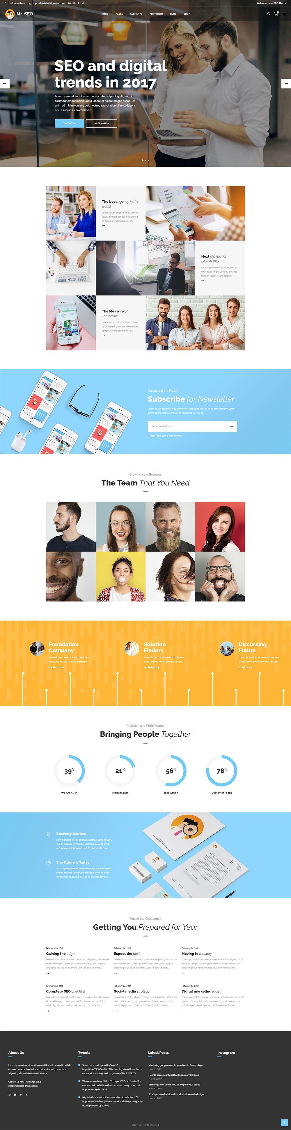 Display every detail of your agency in a beautiful way with Mr. SEO WordPress theme.  #wordpress #theme #webdesign #design #seo #marketing #digitalmarketing #marketingagency #startup #hosting #socialmedia