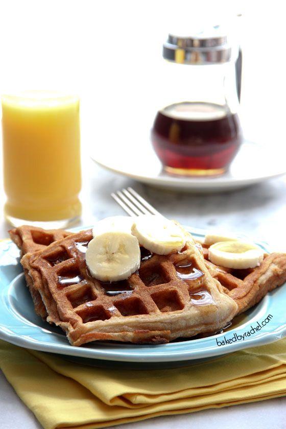 Banana Cinnamon Waffle Recipe from bakedbyrachel.com