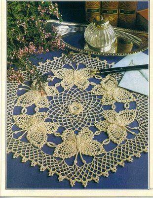 Irish crochet butterfly doily | Dollies | Pinterest | Tischdecken ...