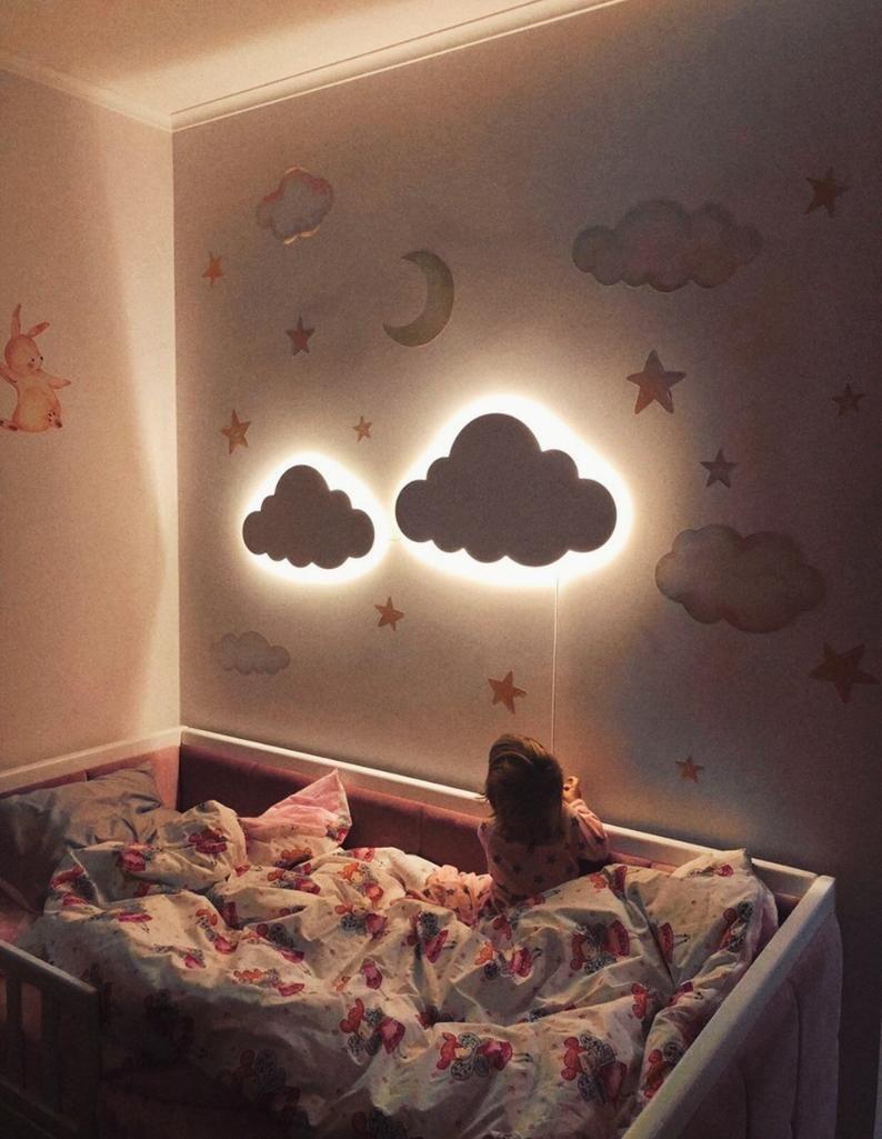 Cloud Night Light Wood Kids Lamp Baby Room Led Lamp Nursery Light Childrens Bedside Lamp Lighting Baby Wall Decor Kids Lamps Girl Nursery Room