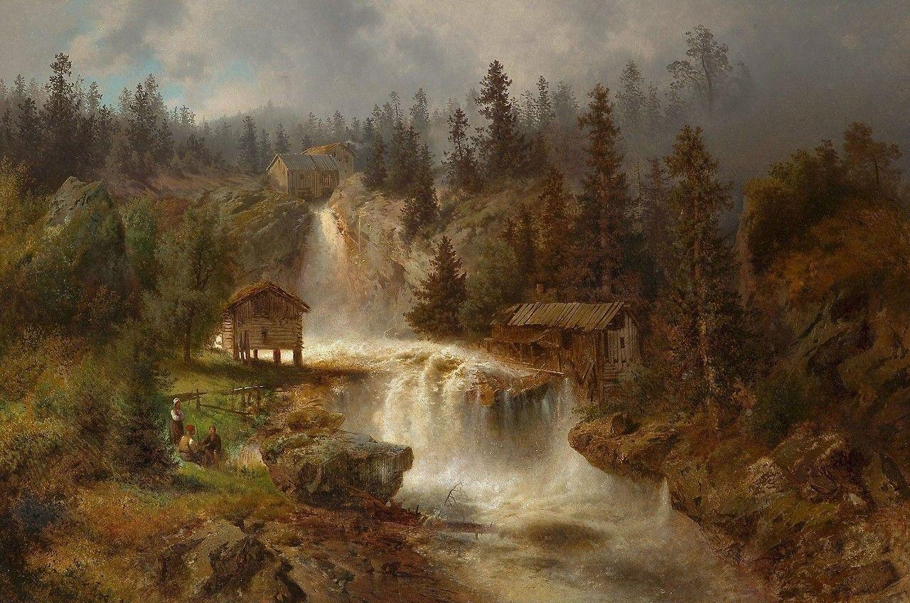 At the Mill Falls, c.1862, Hermann Ottomar Herzog (American, 1832-1932).