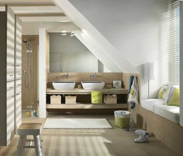 Ideen Hellbeige Badezimmer Mit Dachschräge | Bad | Pinterest Badezimmer Im Dachgeschoss Dachschrge