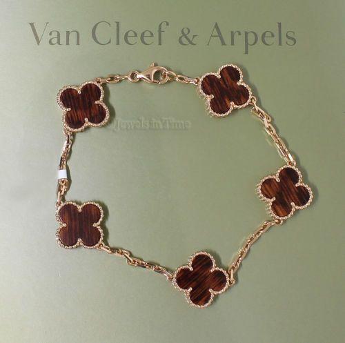 7c92a4d4e57 VCA Van Cleef & Arpels Vintage Alhambra 5 Motif Bracelet 18k Pink Gold  AR030U00