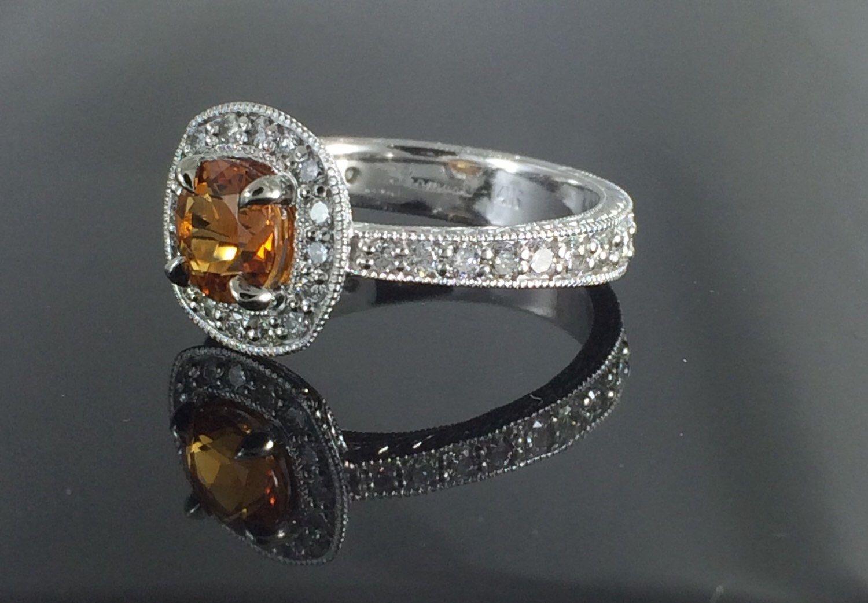 Citrine and diamond halo fashion ring etsy fashion