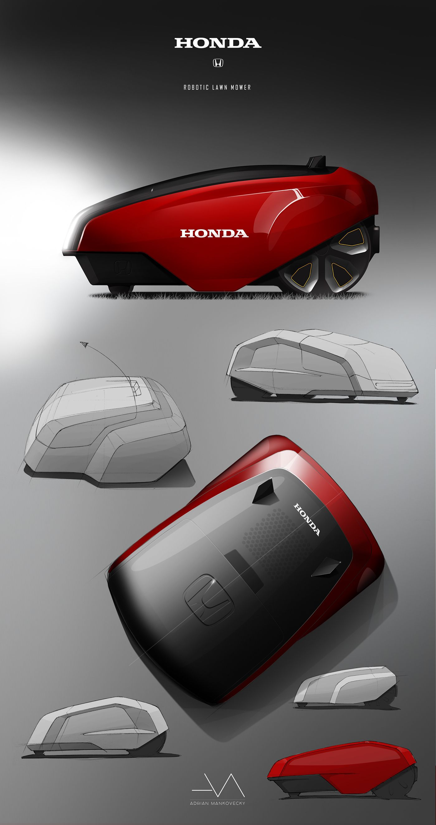 honda robotic lawn mower on behance productshowlayout. Black Bedroom Furniture Sets. Home Design Ideas
