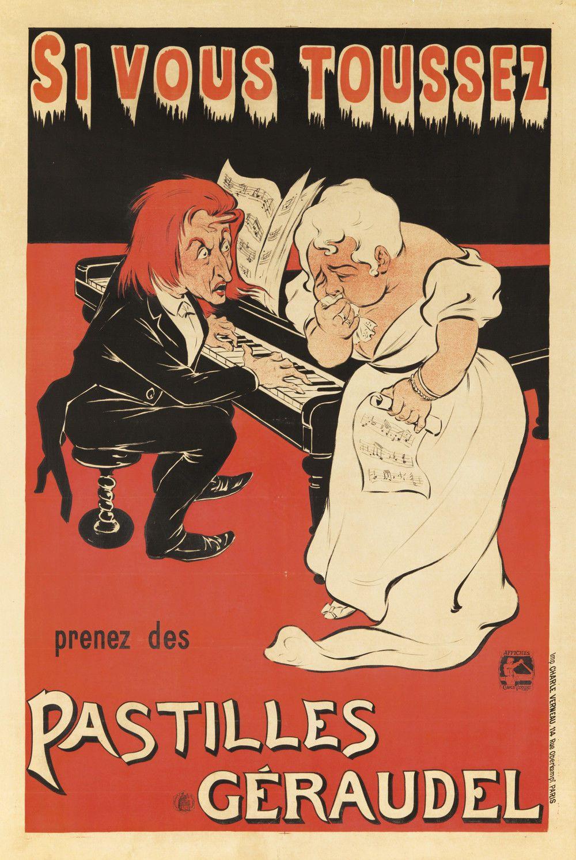 Original Vintage Poster Eugene OGE Pastilles Geraudel Franz Listz Diva Medicine | eBay