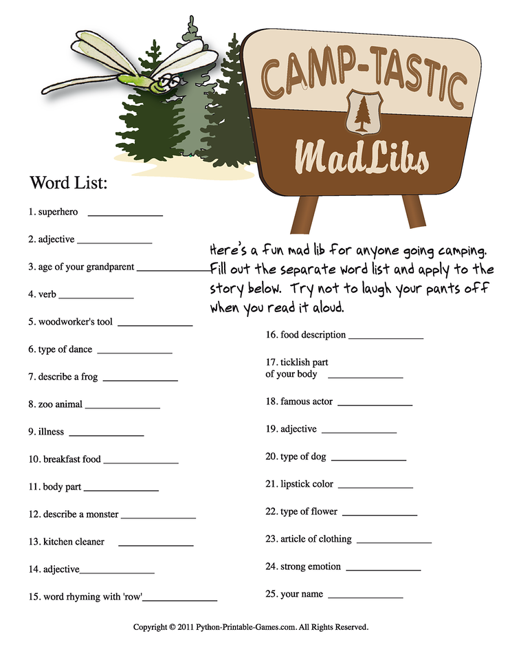 photo relating to Camping Mad Libs Printable named Enjoyment Tenting Things to do: Camp-Tastic Printable Outrageous Libs