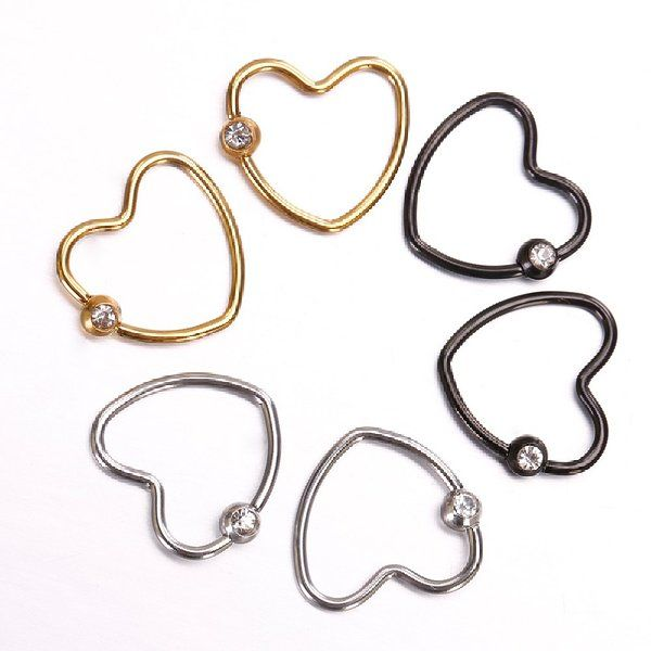 Penderie 3 Pairs Stainless Steel Unique Little Rhinestone Heart Cartilage Earring Multi Functional Jew Tragus Earrings Cartilage Jewelry Body Piercing Jewelry