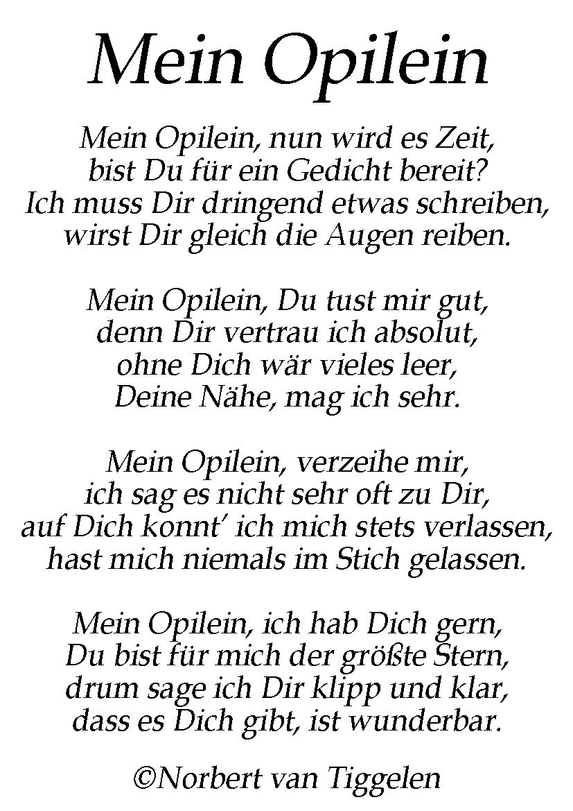 Fur Den Geliebten Opa Ein Gedicht Von Norbert Van Tiggelen